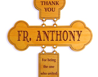 Priest Wedding Gifts - Religious Gift for Officiant - Personalized Cross, DWO003