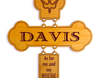 Housewarming Gift - As for me and my House We will Serve the Lord - Joshua 24 15 - Family Name Gift  - New Home Gift Personalized - Cross