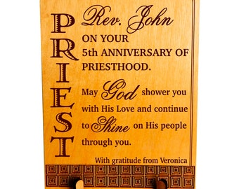 Anniversary of Priesthood Gift - Gifts for Priest - Personalized Ordination Plaque, PLP059
