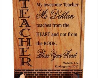 Pre-K - Kindergarten Teacher Appreciation Gift from Student - End of Year Preschool Personalized Plaque, PLT010