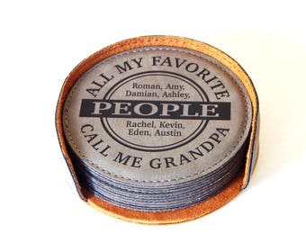 Leather Engraved Coasters - Grandpa Christmas Gift - Gifts for Grandfather - Father's Day Coaster, CAS022