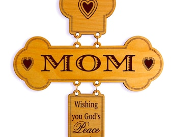 Mom Birthday Gifts - Gift for Mother's Day - Personalized Christmas Wall Cross from Daughter - Son