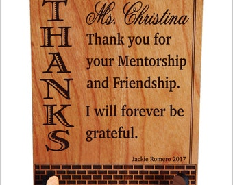 Teacher Appreciation Gift - Gift for Mentor from Student - College Gift Personalized, PLT022