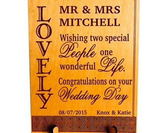 Mr and Mrs Wedding Gift - Gifts for Couple Personalized - Newlyweds Marriage Plaque, PWP010