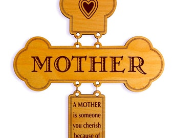 Mom Birthday Gifts - Appreciation Gift for Mothers Day - Personalized Cross from Son - Daughter, GDM6