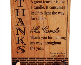 Personalized Teacher Appreciation Gift - Best Teacher Ever - Teacher Christmas Plaque - End of Year Gifts, PLT012
