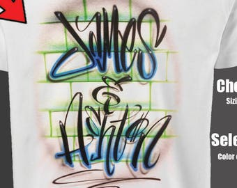 Graffiti Couples shirt, airbrush t shirt, gift for her, his and her shirts, custom couples shirt, graffiti name shirt, parchen pullover