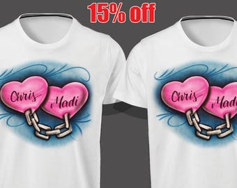 Couples chained hearts shirts,Airbrush Shirt, Valentines Shirt,  couples shirt, Gift for Valentines, Parchen pullover, His Her shirts