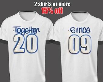 Together Since Shirt,Airbrush shirt, Couples Shirts, Valentines Day shirts, wedding, parchen pullover, Boss shirt, King queen shirt,