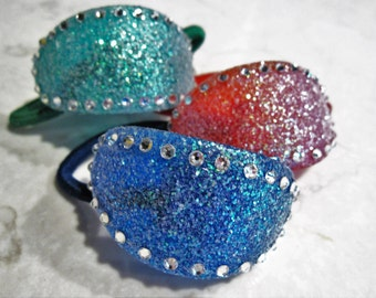 Colorful sparkly sand and swarovski crystal hair tie ponytail holders  elastic tie f96b870fbab