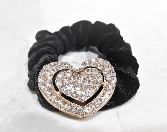 Heart shaped hair tie pony tail holder scrunchie with crystals 0771f8ce4ba