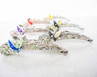 6ac6e3783 Slim silver metal filigree flower butterfly banana hair claw clips with  jewels and crystals