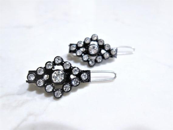 Two small tiny clear tear drop crystal hair pin clip barrettes fine hair
