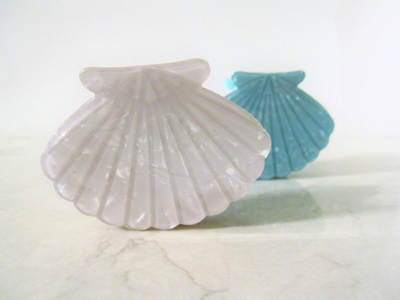 Medium blue or white marbled seashell acrylic and metal hair image 0