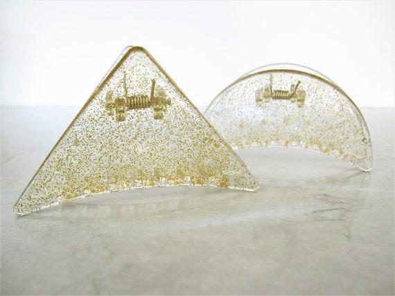 Clear transparent triangle gold sparkle glitter hair claw clip  medium fine hair