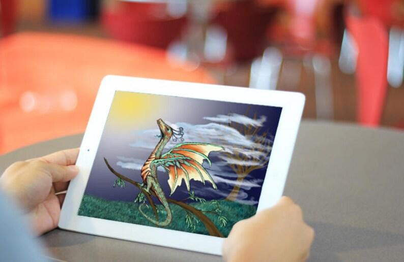 Green Dragon iPad Lock Screen Wallpaper / Digital Fantasy DnD Inspired  Tablet Background