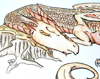 Copper Dragon Coloring Page / Adult Coloring Pages / Printable Colouring Page / Dragon Art