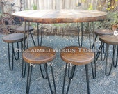 Amanda 39 s custom round barnwood dining table and 6 matching matte black bronzed stools custom blackened bronzed copper metal hairpin legs