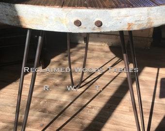 Custom Barnwood Table Top   Custom Hairpin Legs