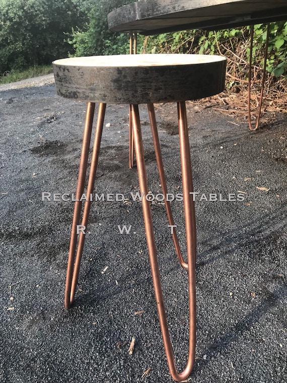 Remarkable Brand New Custom M Trajano Round Stool Set 2 With Metal Band Edge Solid Round Wood Handbent Hairpin Legs Dining Stools Inzonedesignstudio Interior Chair Design Inzonedesignstudiocom