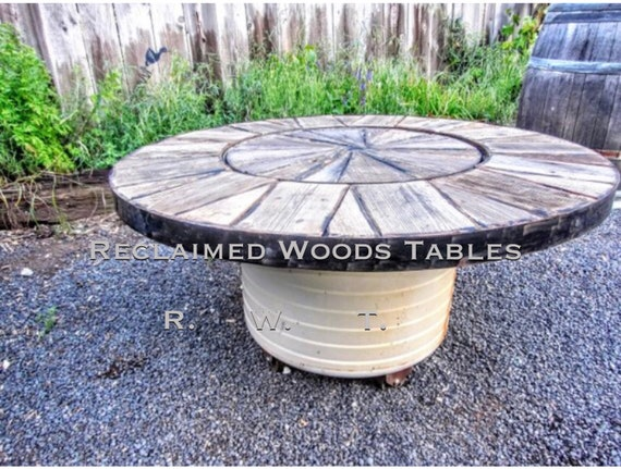 Marvelous Wash Tub Basin Coffee Table Reclaimed Round Wood Metal Wheels Base Rustic Farmhouse Round Coffee Table Center Inlay Wood Lid Lamtechconsult Wood Chair Design Ideas Lamtechconsultcom