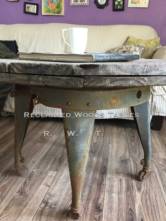Stupendous Reclaimed Wood Spool Coffee Table Metal Wash Stand Coffee Table Rustic Farmhouse Cable Reel Industrial Metal Base Free Usa Shipping Caraccident5 Cool Chair Designs And Ideas Caraccident5Info