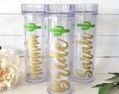 Personalized Cactus Tumbler Fiesta Bachelorette Party Lets Fiesta Scottsdale Before The Veil Bachelorette Party Tumblers