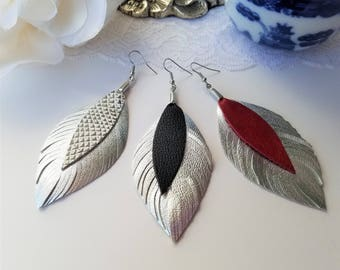 Boho Statement Earrings, Leather Feather Earrings, Leather Earrings, Boho Earrings, Feather Leather Earrings, Statement Silver Earrings, 80s