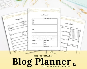 Blog Planner Printable Blog Post Planner PDF Blogging Kit Editorial Calendar Gold Blog Organizer Blog Binder | PBLG-1303-A, Instant Download