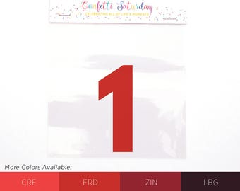Iron-on Birthday 1 - 1 Decal - One - 1st Birthday Shirt - Iron On Decal - Iron-On - First - Heat Transfer Vinyl - Number - Red