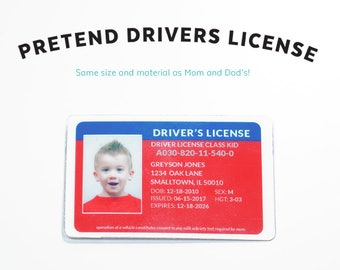 Imaginary Driver's License Car Kids Pretend License Kids ID Kid License Red Blue Unique Gift Kids Birthday Gift
