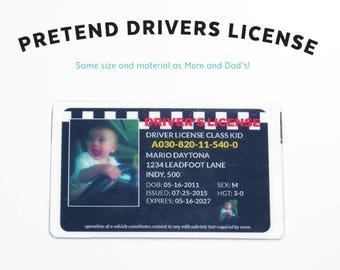Toy Drivers License - Kids Pretend License - Kids ID - Kid License - Wallet - Childrens - Checkered Flag - Unique Gift - Kids Birthday Gift
