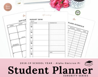 Alpha Omicron Pi Student Planner 2018 - 2019 Sorority Agenda Printable Planner AOPi AOII AOTT Rose Gold Greek| Instant Download