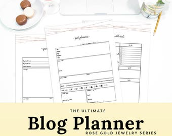 Blogging Kit Blog Organizer Blog Planning Kit A5 Blog Planner Letter Printable Planner A4 Rose Gold | PBLG-1302-A, Instant Download