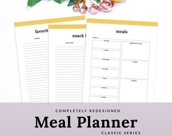 weekly meal planner meal planner printable menu planner etsy