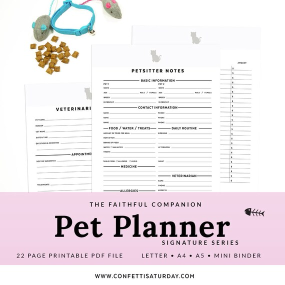 Pet Printable Planner Cat Printable Letter Mini Binder A4