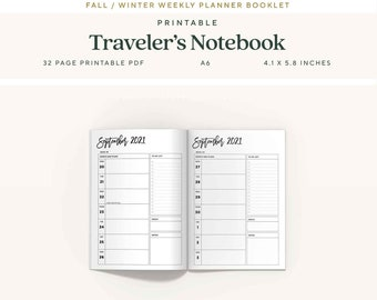 A6 Traveler's Notebook Inserts, 6 Month, Fall 2021 Dated Weekly Planner, WO1P, Printable TN Pages