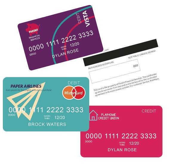 Kids Credit Card Pretend Credit Card Printable Credit Card Etsy