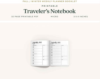 Micro Traveler's Notebook Inserts, 6 Month, Fall 2021 Dated Weekly Planner, WO1P, Printable TN Pages
