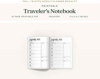 Passport Traveler's Notebook Inserts, 6 Month, Fall 2021 Dated Weekly Planner, WO1P, Printable TN Pages