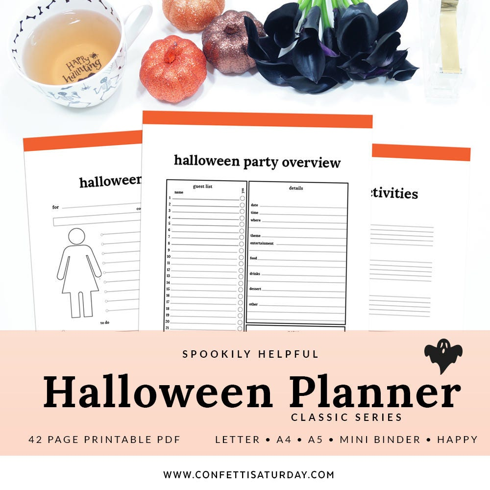 halloween printable planner phal-1100-a instant download | etsy