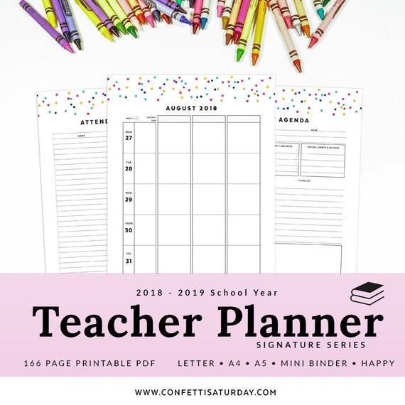 Teacher Planner Printable 2018 2019 Dated Academic Agenda Etsy