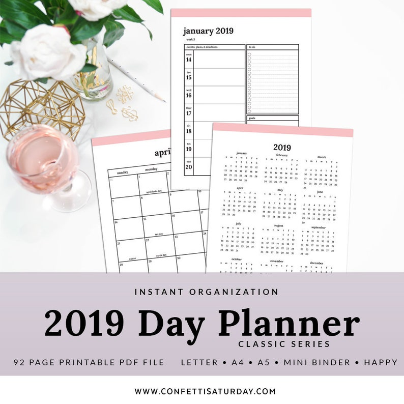 2019 Printable Planner Printable Pdf Pages Classic Millennial Pink Pday 1102 A Instant Download