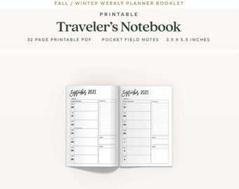 Pocket Traveler's Notebook Inserts, 6 Month, Fall 2021 Dated Weekly Planner, WO1P, Printable TN Pages