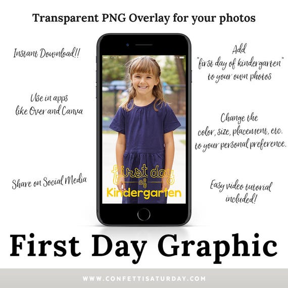 Photo Overlay 1st Day of Kindergarten - Graphic for Photos - First Day of  School - Clipart - App - Words for Photos - Clip Art - DIGITAL PNG