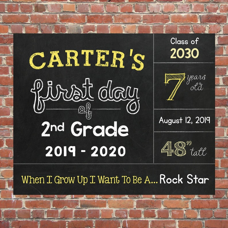 Chalkboard Printable Sign Digital File First Day of Second Grade Sign