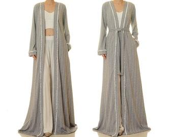 Maxi Cardigan Women | Long Sleeve Grey Kimono Coat | Floor Length Jacket | Duster Robe Cardigan Pockets | Fall Lounge Wear House Robe 6691