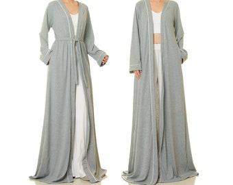 Floor Length Robe Long Sleeve | Grey Duster Jacket Kimono Coat | Rib Knit Cardigan Women Pockets | House Robe Winter Cardigan Boho XS 6661
