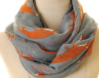 Grey Fox Scarf | Fox Infinity Scarf | Fox Shawl | Loop Scarves | Headscarf Wrap | Animal Print Scarf | Fox Neck Scarf Gift | Fox Shawl S-52