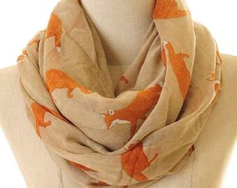 Brown Fox Scarf | Fox Infinity Scarf | Summer Shawl | Light Scarf | Animal Print Scarf | Loop Scarves | Fashion Scarf Gift S-56